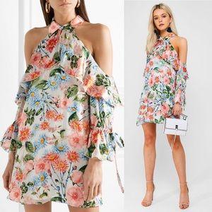 Blayne Cold-Shoulder Devoré-Chiffon Mini Dress